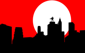 Mond, Batman, Silhouette, Maske, Stadt, Mantel