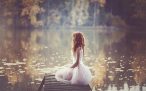 autunno, rossa, natura, sfocatura, ragazza, vestire, acqua