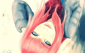 арт, голубые глаза, куртка, шарф, лицо, девушка, взгляд, живопись, волосы
