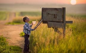 мальчик, почтовый ящик, письмо, ребёнок