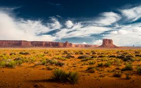 трава, пустыня, скалы, облака