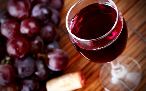 wineglass, grapes, cork, red, wine