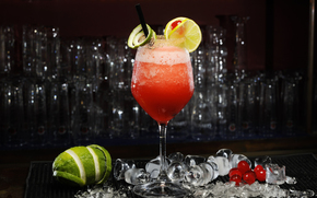 cherry, drink, ice, daiquiri, citrus, cocktail, BERRY, Lemon, lime, wineglass