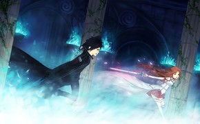 sword, girl, sword master online, guy, weapon, fire, battle, magic, column