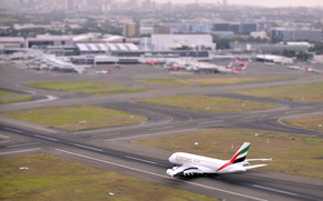 band, takeoff, top view, Day, plane, aviation, airport