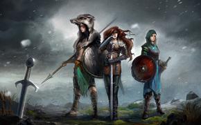sword, Girls, Art, wind, shield, Valkyrie, Warriors, lance, hide, weapon, Armor