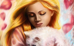 на руках, макияж, кошка, животное, волосы, лицо, тени, белая, золотистые, живопись, девушка