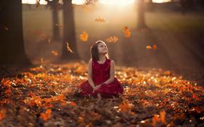 vestire, bokeh, autunno, fogliame, ragazza