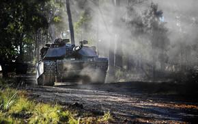 лес, танк, США, военная техника