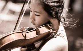 chica, Música, violín
