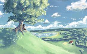 человек, дерево, арт, озеро, холм, нарисованный пейзаж