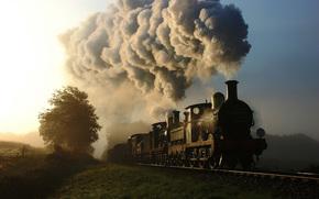 вагоны, Другая техника, природа, дым, паровоз, поезд, железная дорога
