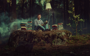 Books, reading, web, forest, lamp, bibliophile