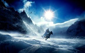 конь, фантастика, горы, небо, лед, сосульки, холод, зима, птицы, всадник, солнце