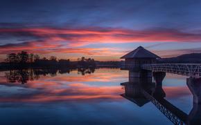 England, Kropston, lake, evening, sunset