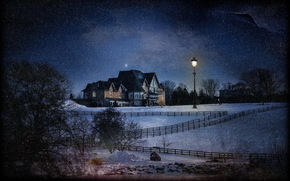 lantern, processing, night, home, snow