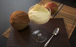 ice cream, coconut, white chocolate, food, Widescreen, Widescreen, background, fullscreen, dessert, wallpaper