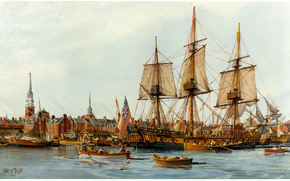 city, painting, wharf, picture, ships