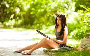 девушка, лето, азиатка, меч