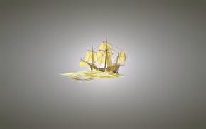 парусник, минимализм, корабль, светлый фон