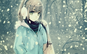 capelli, inverno, Borsa, nevicata, anime, freddo, visualizzare, ragazza