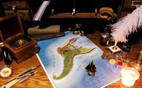 feather, candle, map, coins, watch, table, compass. Books, spyglass, ruler, sailfish, scroll, compasses