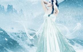 capelli, ragazza, freddo, nevicata, riccioli, volto, vestire, trucco, inverno, mani, Profilo, Art, Montagne, cielo