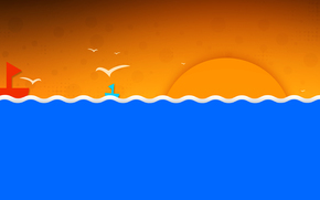 кораблик, солнце, птицы, волны, небо, море, пейзаж