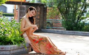 лето, девушка, улица, стиль, азиатка