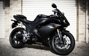 роллеты, мотоцикл, вид сбоку, Мотоциклы, чёрный, ямаха