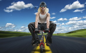 велосипед, дорога, мужчина
