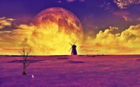 nuvole, mulino, HORIZON, cielo, albero, paesaggio, spazio