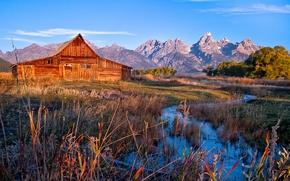горы, домик, речка, ручей, Grand Teton National Park