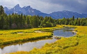 Grand Teton National Park, river, Mountains, forest, trees, landscape