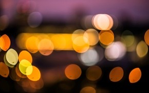 Macro, fullscreen, city, lights, bokeh, wallpaper, Widescreen, degradation, Widescreen, background