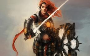 фэнтези, молния, броня, девушка, щит, рыжая, лента, арт, меч