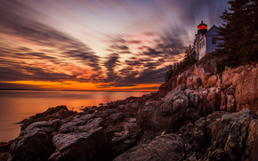 Sunset at Bass Harbor Head Light, Acadia National Park, закат, маяк
