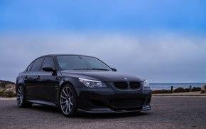 sky, clouds, BMW, BMW, black, ocean, Sedan