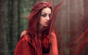 волосы, макияж, девушка, ветер