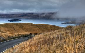 lake, fog, island, road