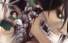 вторжение гигантов, парень, оружие, зубы, арт, девушка, титан, аниме