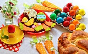 uova, Torta di Pasqua, Fiori, vacanza, Pasqua, biscotti