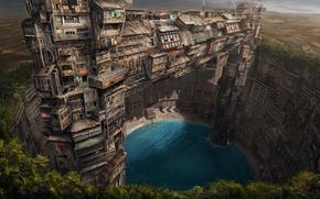 фантастический мир, пески, оазис, дома, город, зелень, рендер, пустыня, озеро