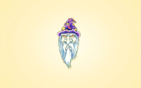 white beard, cap, purple, wizard, head, month, Merlin, Hypnosis eyes, minimalism, star