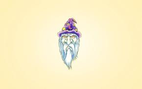 barba branca, boné, roxo, feiticeiro, cabeça, mês, Esmerilhão, Hipnose olhos, minimalismo, estrela