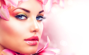 макияж, губы, девушка, лицо, лепестки, взгляд