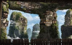 облака, зелень, тросы, рендер, доски, скалы, дома, высота, канаты, фантастический мир, забор