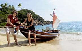 остров, пляж, лодка, парень, и небольшой пейзаж, берег, океан, пальмы, девушка