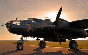 Private, WWII, two-engined, American, activity, collection, sunset, lend-lease, all-metal, radius, plane, North American, parking, aerography, times, bomber, average, Airshow, retro.