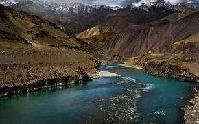 Mountains, river, India, Himalayas